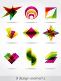 Design elements. 9 colorful design elements.Geometric shapes Royalty Free Stock Photos