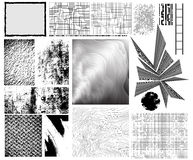Design elements. Collection of traced grungy vector textures, manually drawn creative patterns and other design elements Stock Images