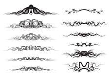 Design Elements. A set of 12 symmetrical vector design elements, floral, 2 types Stock Photo