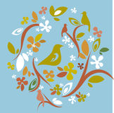 Design elements. Decorative elements with flowers, leafs and birds Stock Photos