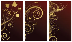 Design elements. With gold flowers Royalty Free Stock Photo