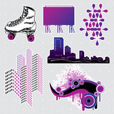 Design elements #6. Illustration of various design elements: roller skates, skyline, billboard and textures Stock Images