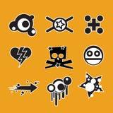 Design Elements. Funny Skulls, stars , hearts Stock Photography