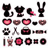 Design elements animals objects Stock Images