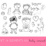 Design elements for baby arrival Stock Photography