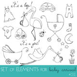 Design elements for baby arrival card Royalty Free Stock Photography