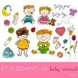 Design elements for baby arrival card Royalty Free Stock Image