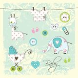 Design elements for Baby arrival cards Stock Images