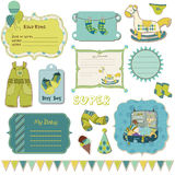 Design elements for baby scrapbook Royalty Free Stock Images