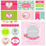 Design Elements - Baby Shower Flower Theme Royalty Free Stock Photography