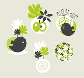 Design elements with birds and flowers. Stock Photography