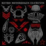 Design elements on black background for vintage. Design elements vintage motorbikes - vector set Stock Images