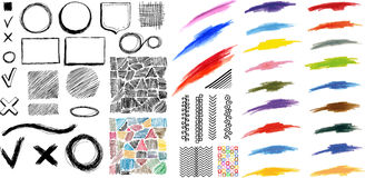 Design elements brush and pen strokes Royalty Free Stock Photos
