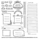Design elements for bullet journal or planner. Bullet journal hand drawn vector elements for notebook, diary and planner. Doodle banners isolated on white vector illustration