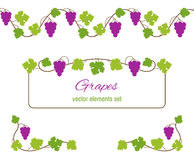 Design elements with bunches of grapes and vines Royalty Free Stock Photo