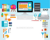 Design Elements for Business Office Workplace Stock Image