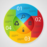 Design elements business presentation on circle. Arrow with icons recicle ecology. search trach temperture Stock Image