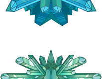 Design elements of cartoon crystals and minerals. Vector elements for design of games, menu cards and your design Royalty Free Stock Photography