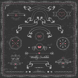 Design elements, chalkboard  wedding invitation, Stock Photo