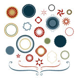 Design elements of circles and stars with lacy borders and curled lines Stock Photography