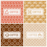 Design elements for coffee houses. Vector set of linear labels and seamless patterns - design elements for coffee houses Royalty Free Stock Image