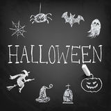 design elements collection for Halloween. Chalk on board Royalty Free Stock Images