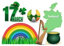 Design elements collection for St. Patrick`s Day. Icons set for feast of Saint Patrick. Vector illustration Royalty Free Stock Photos