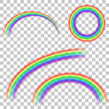 Design elements - collection of transparent rainbows. Stock Photos