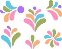 Design elements colorful drops and leaves Stock Photo