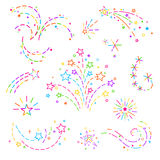 Design elements for decoration. Firework, stars, curls of colored dotted line, graphic elements for design of card design, banner, web site, business cards and Stock Photography