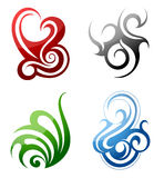 Design elements. Fire, water, grass, wind. Set of graphic design elements in tribal art style Royalty Free Stock Photos