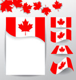 Design elements and flags for the national day of Canada Royalty Free Stock Photos
