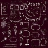 Design elements - frames, florals, swirls on the chalkboard Royalty Free Stock Image