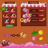 The design elements of the game interface. Shop, boosters and progress bar Stock Images