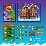 The design elements of the game interface. The design of the game interface on the theme of Christmas. Buttons, progress bar and and other elements Royalty Free Stock Photo