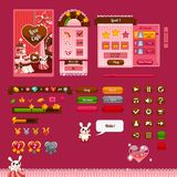 The design elements of the game interface. The design of the game interface on the theme Valentine's day. Buttons, progress bar and and other elements Royalty Free Stock Image