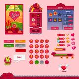 The design elements of the game interface. The design of the game interface on the theme Valentine's day. Buttons, progress bar and and other elements Stock Image