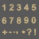 Design elements - gold 3D font, numbers and symbols. Royalty Free Stock Photo