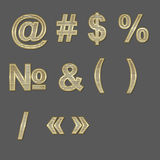 Design elements - gold 3D font, symbols Royalty Free Stock Photo