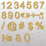 Design elements - gold wire 3D font, signs and symbols. Stock Photos