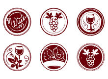 Design elements -- grape stamps Royalty Free Stock Images