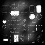 Design elements. Hand-drawn set, design elements on the blackboard Stock Image