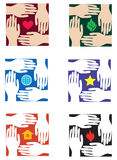 Design elements with hands. Examples of a logo with protecting hands Royalty Free Stock Photos