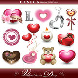 Design Elements and Icons - Valentine's Day. Vector illustration representing a set of twelve design elements and icons for Valentine's Day Stock Image