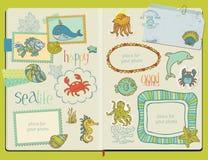 Design Elements - Marine life Set. Vector Scrapbook Design Elements - Marine life Set -  hand drawn in notepad Royalty Free Stock Photo