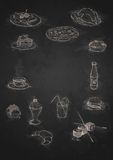 Design Elements For The Menu On The Chalkboard. Stock Image