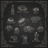 Design Elements For The Menu On The Chalkboard. Stock Photos