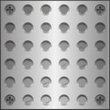 Design elements - metal plate with holes on the screws. The grooves holes for the screws. Vector  3D illustrations Stock Images