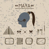 Design elements mystical signs and symbols of the Maya. Stock Photo