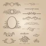Design elements, ornate frames & monogram. Vector design elements, ornate frames & monogram Stock Photos